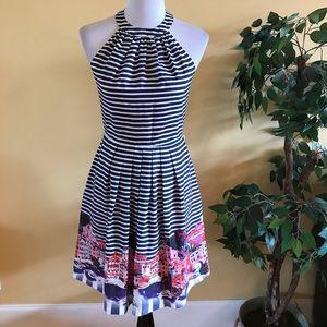 Muse Cityscape Halter Striped Dress Size 4